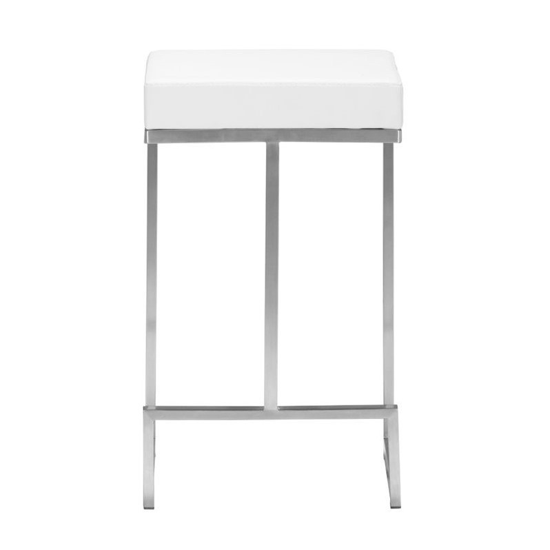 ZUO Darwen Modern Leatherette Counter Chair in White