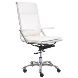 ZUO Lider Plus Modern Leatherette High Back Office Chair in White