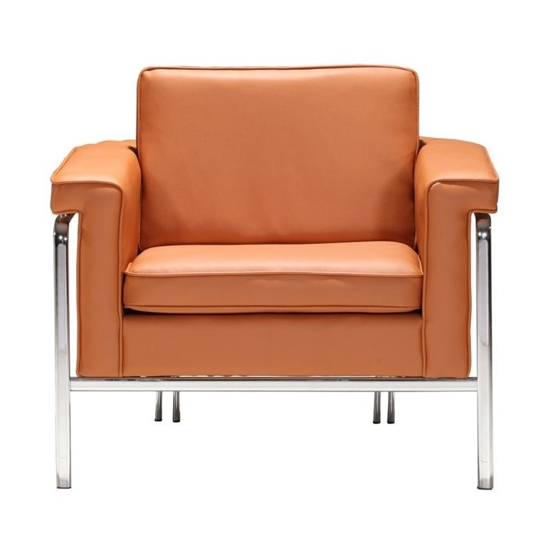 ZUO Singular Modern Faux Leather Club Arm Chair in Orange