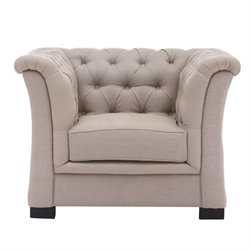 Zuo Nob Hill Fabric Tufted Club Arm Chair in Beige