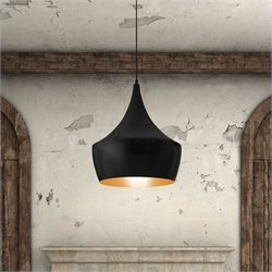 Zuo Copper Ceiling Lamp in Matte Black Finish