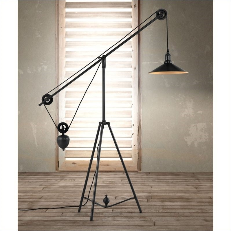 Zuo Jasper Floor Lamp In Antique Black Gold 98235