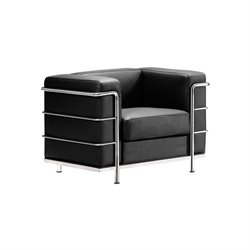Zuo Fortress Leather Arm Chair in Black