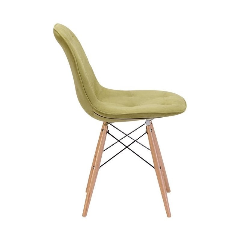 Zuo Probability Dining Chair in Green Velour