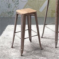 Zuo Marius Bar Chair in Rustic Wood