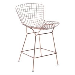 Zuo Wire Bar Stool in Rose Gold