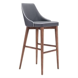 Zuo Moor Bar Stool in Gray