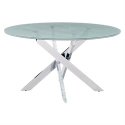 Zuo Stance Round Glass Dining Table in Chrome