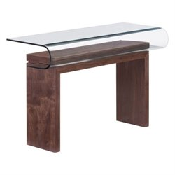 Zuo Mystic Glass Console Table in Walnut