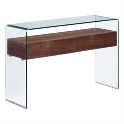 Zuo Shaman Glass Console Table in Walnut
