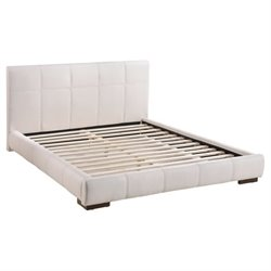 Zuo Amelie Faux Leather Upholstered King Platform Bed in White