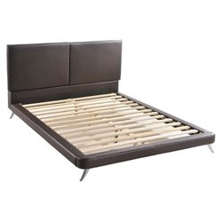 Zuo Rivette Faux Leather Upholstered  Panel Bed in Espresso