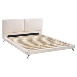 Zuo Rivette Faux Leather Upholstered  Panel Bed in White