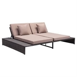 Zuo Delray Outdoor Reclining Fabric Loveseat in Brown