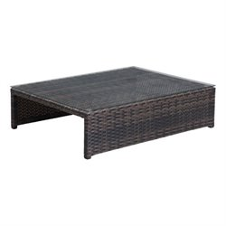 Zuo Delray Outdoor Glass Coffee Table in Brown