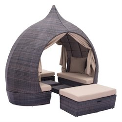 Zuo Majorca Outdoor Daybed Brown and Beige