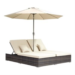 Zuo Atlantic Double Fabric Patio Chaise Lounge in Brown
