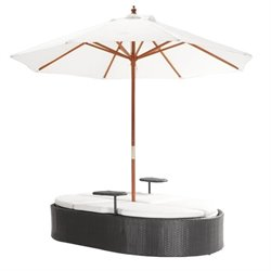 Zuo Hampton Double Fabric Patio Chaise Lounge in Brown