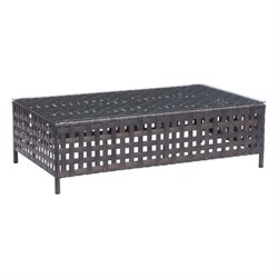 Zuo Pinery Outdoor Glass Coffee Table in Beige