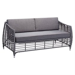 Zuo Wreak Beach Outdoor Fabric Sofa in Gray