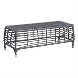 Zuo Wreak Beach Outdoor Glass Coffee Table in Gray