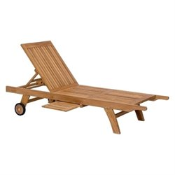 Zuo Starboard Teak Patio Chaise Lounge in Natural