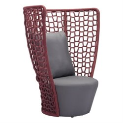 Zuo Faye Bay Beach Outdoor Chair in Cranberry and Gray