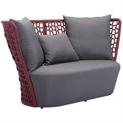 Zuo Faye Bay Beach Outdoor Fabric Sofa in Cranberry and Gray