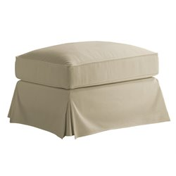 Lexington Coventry Hills Stowe Slipcover Rectangular Ottoman in Khaki
