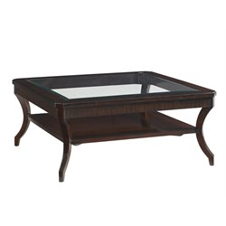 Lexington Kensington Place Warner Glass Top Coffee Table in Brown