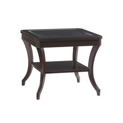 Lexington Kensington Place Hillcrest Glass Top End Table in Brown