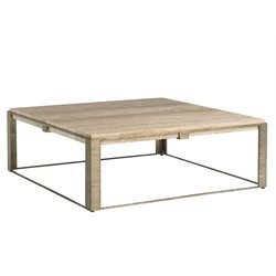 Lexington Laurel Canyon Stone Canyon Square Coffee Table in Silver