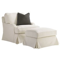 Covertry Hills Stowe Slipcover Chair with Ottoman