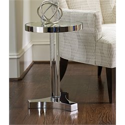 Lexington MacArthur Park Kinnard Round Mirror Top End Table in Steel