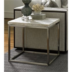 Lexington MacArthur Park Marisol Stone Top End Table in Steel