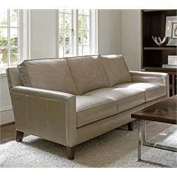 Lexington MacArthur Park Foxboro Leather Sofa in Light Gray