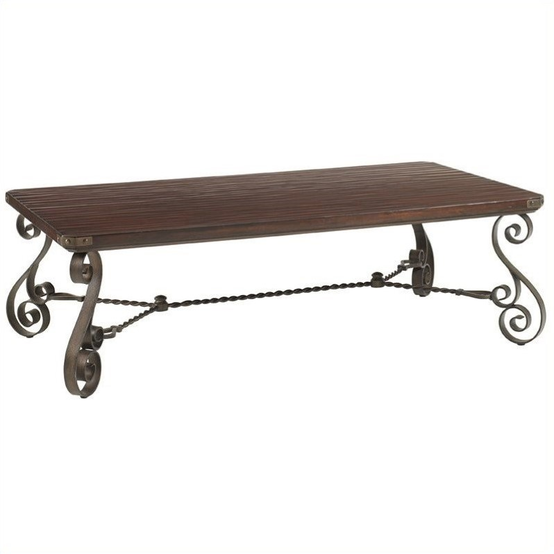 Lexington Fieldale Lodge Cherry Creek Rectangle Cocktail Table in Brown Mahogany