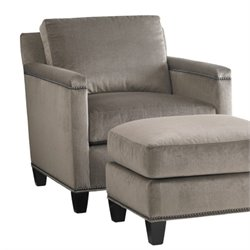Lexington Carrera Strada Nailhead Fabric Accent Chair in Greystone