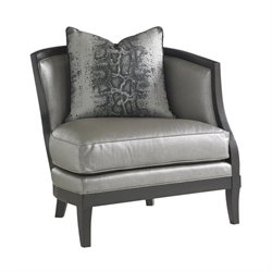 Carrera Garland Leather Arm Chair in Greystone