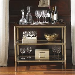 Lexington Tower Place Bartlett 3 Shelf Glass Server Table in Gold Leaf
