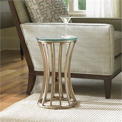 Lexington Tower Place Stratford Round Glass Accent Table in Gold Leaf