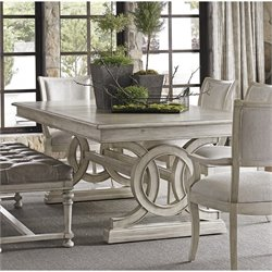 Lexington Oyster Bay Montauk Extendable Trestle Dining Table in Oyster