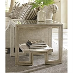 Lexington Oyster Bay Harper Glass Top Rectangular End Table in Oyster