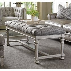 Lexington Oyster Bay Bellport Tufted Fabric Bench in Milllstone