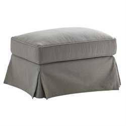 Lexington Oyster Bay Stowe Slipcover Fabric Ottoman in Gray