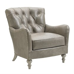Lexington Oyster Bay Westcott Tufted Leather Arm Chair in Milllstone