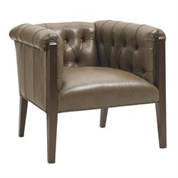 Lexington Oyster Bay Brookville Tufted Leather Arm Chair in Milllstone