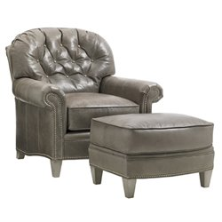 Lexington Oyster Bay Bayville Leather Arm Chair with Ottoman