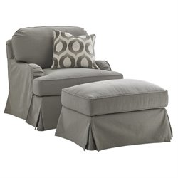 Lexington Oyster Bay Stowe Fabric Swivel Arm Chair with Ottoman