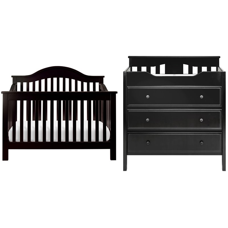 Davinci Jayden 4 In 1 Convertible Crib With Changing Table In Ebony M5981e Cribset Pkg